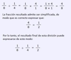 ejemplo dividir fracciones