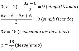 Ecuaciones de primer grado resueltas 6