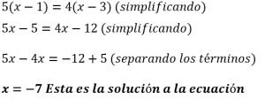Ecuaciones de primer grado resueltas 7
