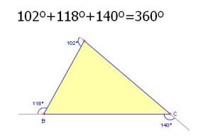 suma angulos exteriores triangulo