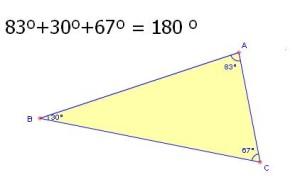 suma angulos interiores triangulo