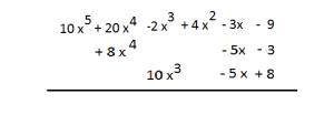 suma de polinomios disposicion